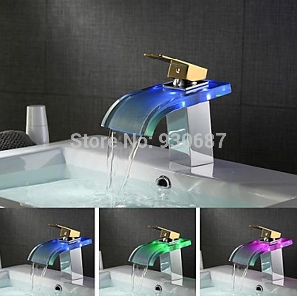 ФОТО Color Changing LED Basin Faucet Gold Single Handle Single Hole Mixer Tap Chrome