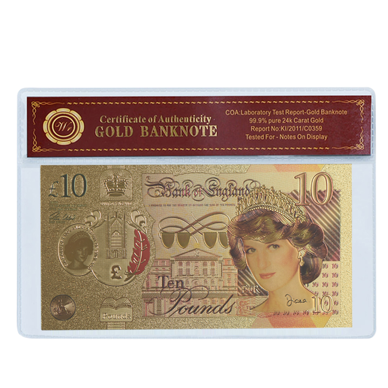 WR Festival Gifts Diana Princess 24k Gold Plated Foil Banknote with COA Frame England 10 Pounds Golden Banknote for Souvenir