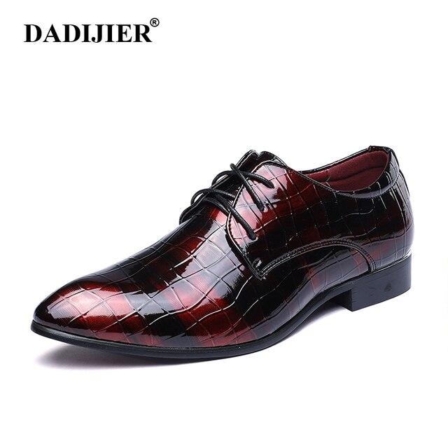 e85ba85d1b145 Dadijier negocios vestido Zapatos hombres Oxford pisos Calzado de vestir  marca hombres Zapatos charol lujo italiano