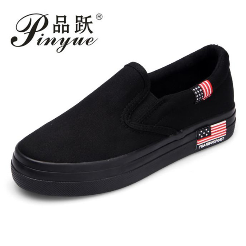 2018 new fashion all black women s canvas shoe slip on sneaker high quality  plus big size b3b53f4d9d48