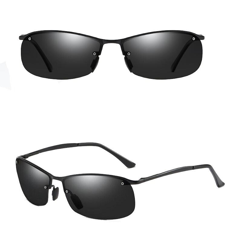 Fashion Men Polarized Rimless Sunglasses Anti Glare Alloy Black Frame Luxury Brand Design Driving Goggles Fishing Sun Glasses in Men 39 s Sunglasses from Apparel Accessories