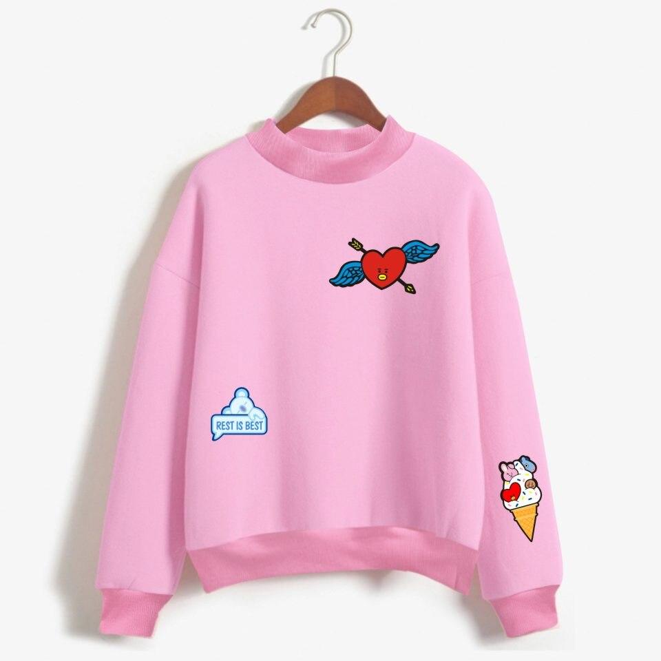 BF LUCKYFRIDAYF 2019 Kpop Love Yourelf Oversize Turtlenecks Hoodies Sweatshirts Women Kawaii Female Anime Sweatshirts Clothes