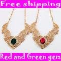 Oro de la alta Calidad Ahueca Hacia fuera el cordón Exagerada Grande Rojo Verde de la Gema Colgante Collar Corto para las mujeres
