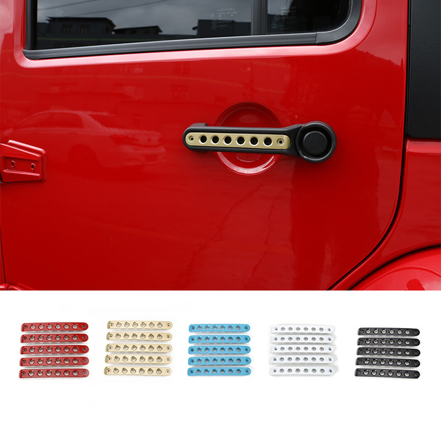 MOPAI Car Exterior Accessories Zinc Alloy Door Handle Bar Moulding Sticker Fit For Jeep Wrangler 07 Up Car Styling 2 & 4 Doors