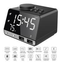 USB LED Alarm Clock + FM Radio + Wireless bluetooth Speaker + 2 USB Charger Port Digital Display for Mobile Phone Office Home