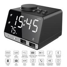 USB Sans Fil Intelligent Sans Fil lecteur de musique bluetooth haut-parleur stéréo led réveil à deux alarmes Avec affichage numérique FM Radio