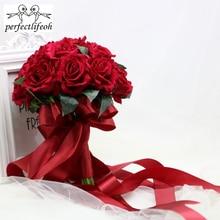 Perfectlifeoh Hot Red Wedding Bouquet Bridal Bouquet Trang Trí Đám Cưới Foamflowers Rose Bridal Bouquet