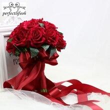 Perfectlifeoh Sıcak Kırmızı Düğün Buket Gelin Buketi Düğün Dekorasyon Foamflowers Gül Gelin Buketi