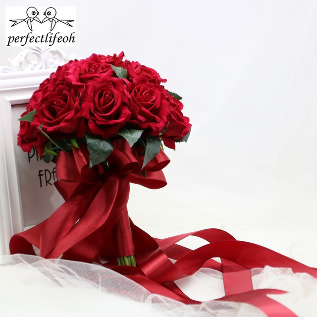 perfectlifeoh Hot Red Wedding Bouquet Bridal Bouquet Wedding Decoration Foamflowers Rose Bridal Bouquet