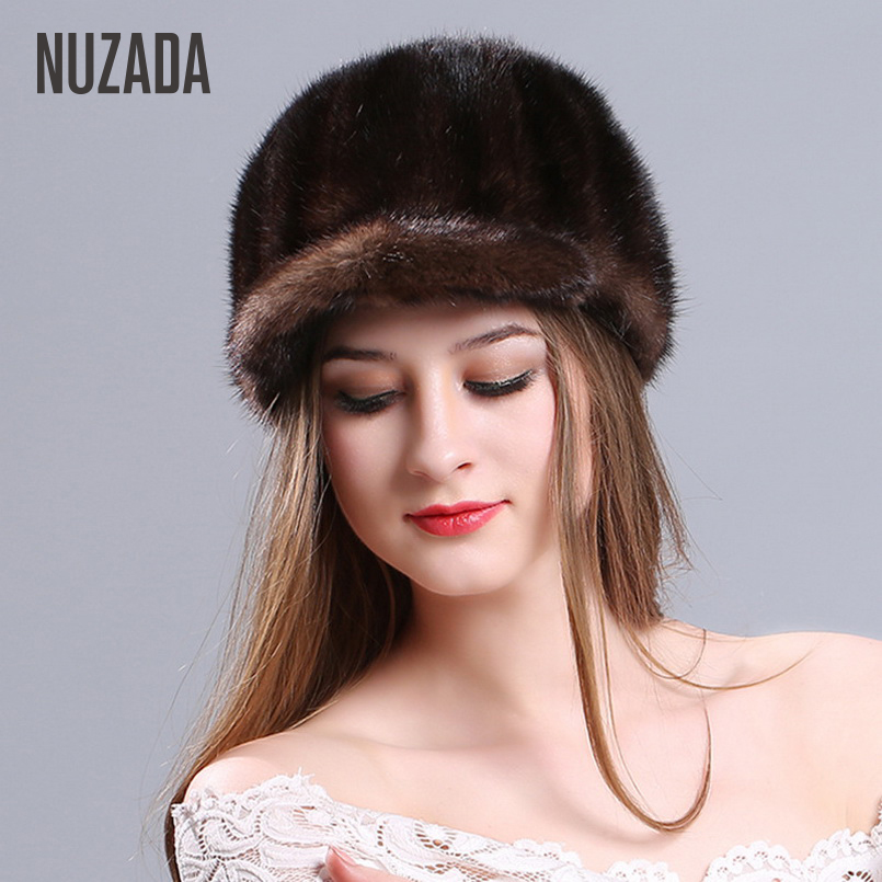 Brand NUZADA Warm Cold Proof Function Women Lady Girl Knitted Caps Skullies Beanies Real Truly Mink Fur Fashion Cap Winter Hat