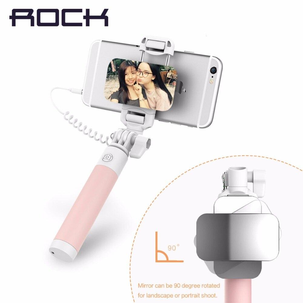 Рок универсальный мини зеркало selfie stick для ios/android роскошный телефон проводной монопод selfie придерживайтесь телефон владельца камеры пункт