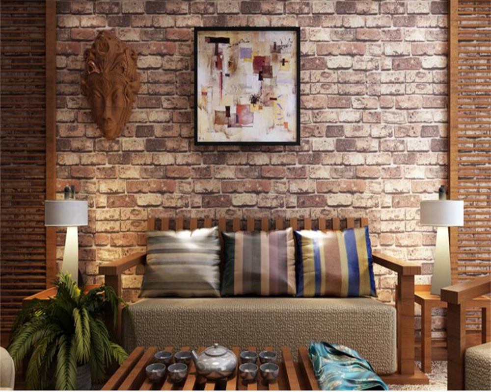 beibehang pvc Stereo imitation brick wallpaper red retro living room TV restaurant aisle Chinese backdrop wall papel de parede beibehang 3d brick wallpapers antique brick brick wallpaper chinese nostalgia restaurant hotel backdrop retro vintage wallpaper