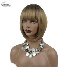 Women's Wig Bob Short Straight Hair Synthetic Hair Blonde/Wildcherry Wigs Ombre Dark roots StrongBeauty все цены
