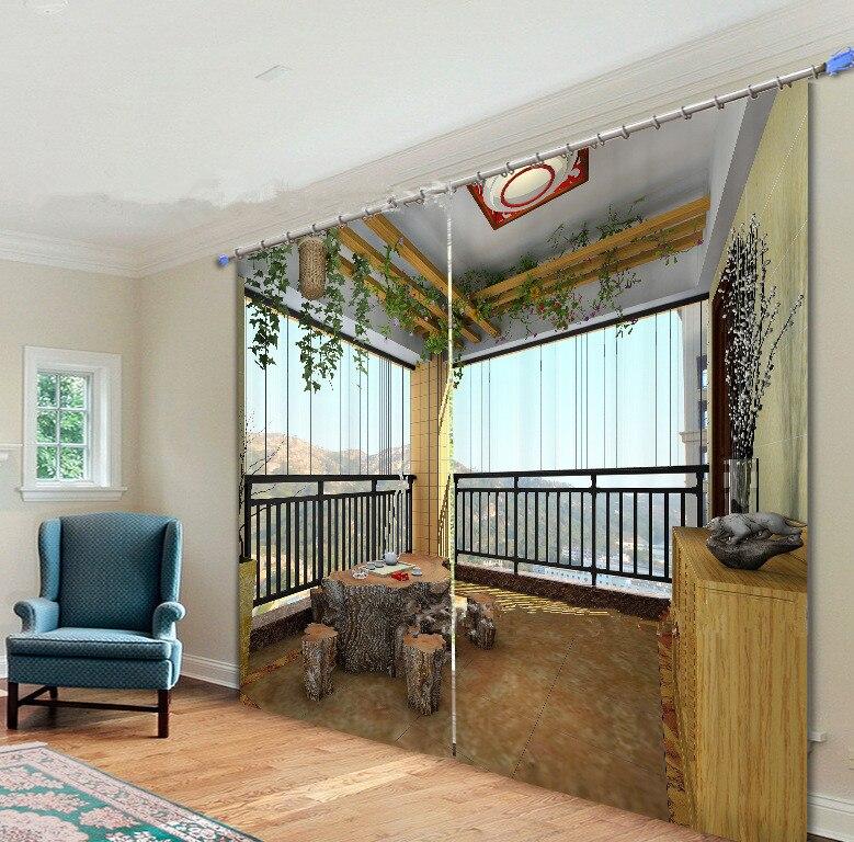 3D Creative Balcony Landscape Window Curtain for Living Room