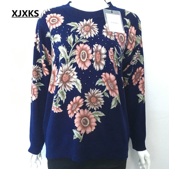 XJXKS אביב סתיו חורף נשים סוודרים בתוספת גודל אמא סרוג חולצות הדפסת פרח ארוך שרוול Jumper
