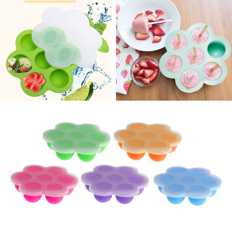 7 cuadrícula bebé contenedor de alimentos de bebé fruta leche materna caja de almacenamiento congelador bandeja cajón