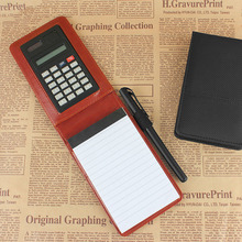 2016 new design creative stationery  PU leather notepad notebook diary memo planner with mini notepad and calculator