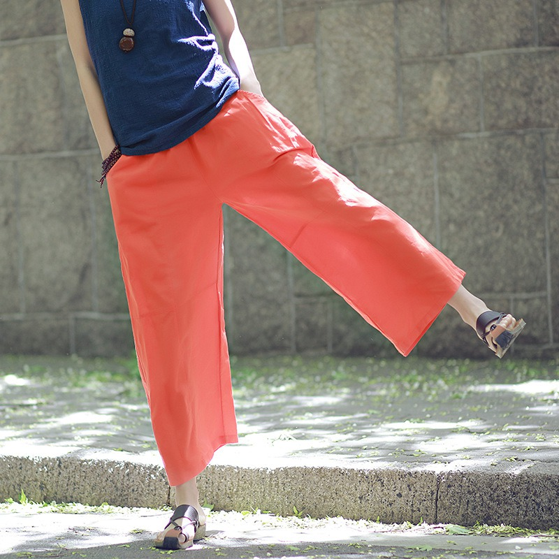Summer solid color Stitching Ramie Elastic waist Women Straight   Pants     Capri   Loose Casual Cotton Linen   Pants   Wide leg Trousers