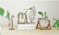 Garden Wood Glass Desktop Hydroponic Plants Planter Container Terrarium Flower Pots Vase Home Decoration Garden Tools