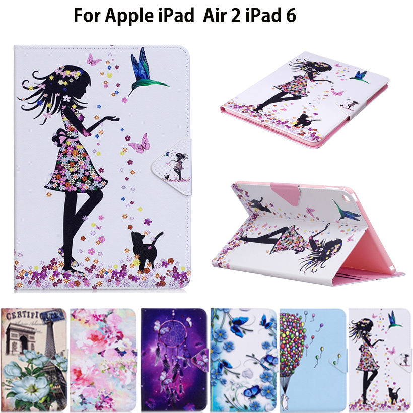 Fashion Painted Tablet Case For Apple iPad Air 2 iPad 6 Smart Cover Fashion Girl Cat Flip Stand Silicone PU Leather Skin Funda fashion yb for apple ipad air 2 air2 flip pu leather case cover cute tower tablet stand case with card holder for apple ipad 6