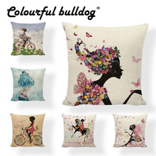 Cushion Cover Fantasy Butterfly Girl Beautiful Flowers Trees Bicycles Pattern Girly Boudoir Romantic Decorative Pillow Cases(China)