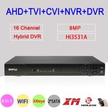 Hi3531D 8MP 16CH 16 Channel 2*SATA WIFI Coaxial Hybrid 6 in 1 NVR TVI CVI AHD CCTV DVR Surveillance Video Recorder Free Shipping