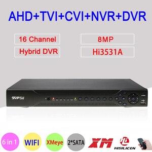 Hi3531D 8MP 4K H.265 + 16CH 16 каналов 2 * SATA WIFI коаксиальный гибридный 6 в 1 NVR TVI CVI AHD CCTV DVR видеорегистратор видеонаблюдения