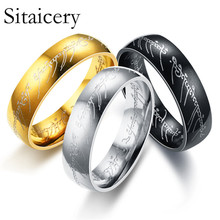 Sitaicery 2019 Magic Letter The Lord of One Ring Black Silver Gold Titanium Stainless Steel For Men Women Senhor Dos Aneis