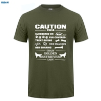 GILDAN New Summer Style O Neck Printing Short Sleeve Mens I M A Crazy Golden Retriever