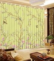 Top Classic 3D European Style Decorative Home Decor Flowr Bird Custom Curtains Vintage Window Curtains