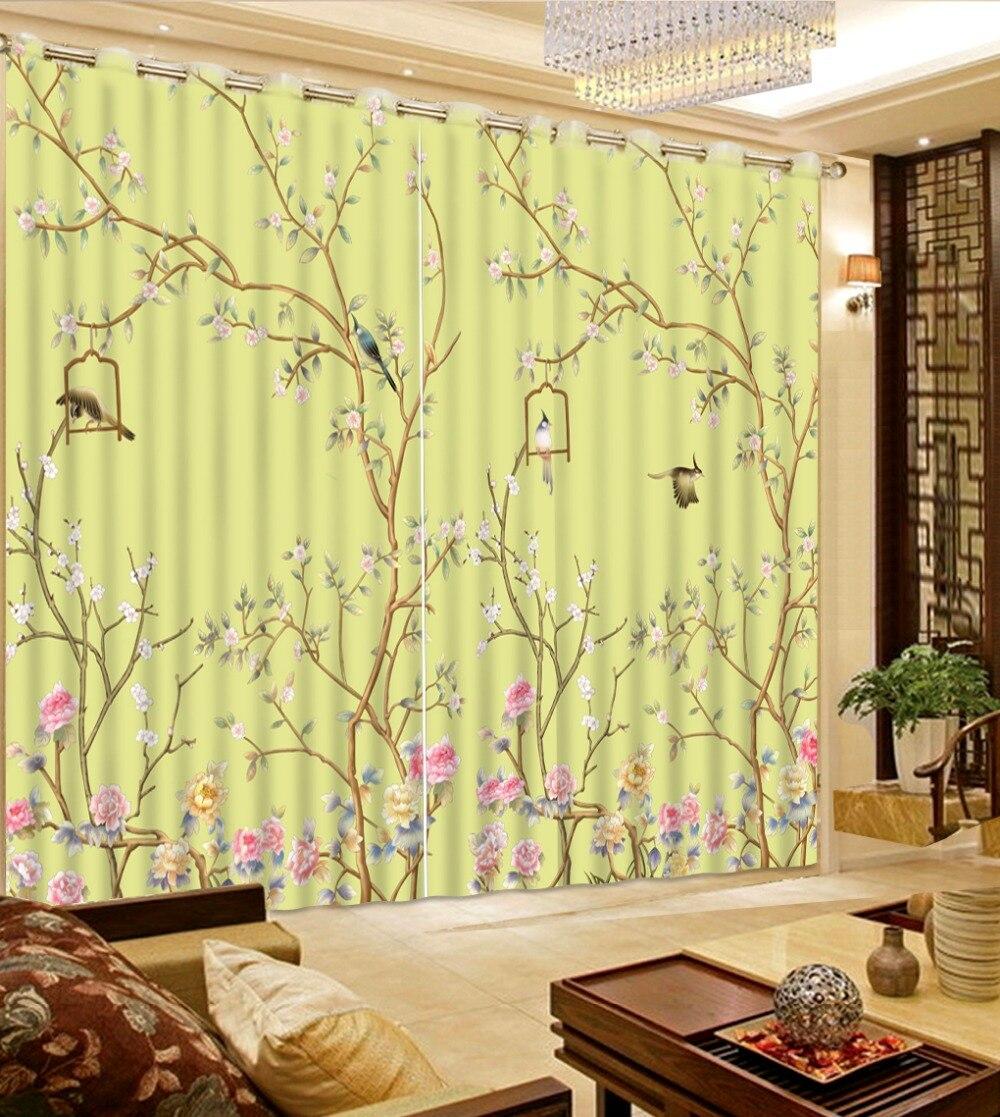 Kinds Of Vintage Floral Curtains - Top classic 3d european style decorative home decor flowr bird custom curtains vintage window curtains