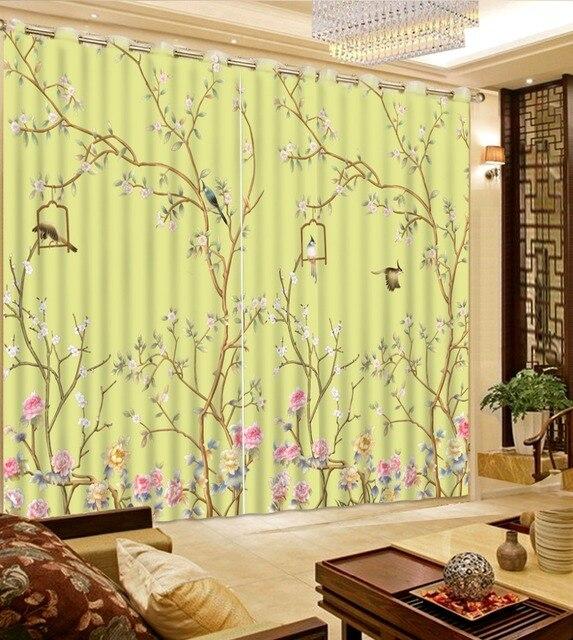top klassieke 3d europese stijl decoratieve woondecoratie flowr vogel custom gordijnen vintage gordijnen