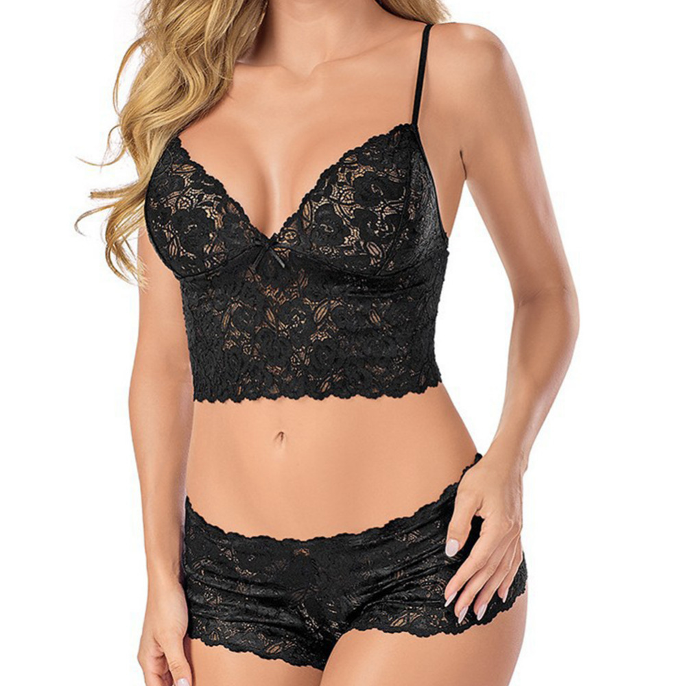 <font><b>2018</b></font> Sexy Lingerie Erotic Lace Babydoll Pajamas Exotic Wrapped Chest Open Bra Underwear Suit Porn Maid Sexy Costumes <font><b>Sex</b></font> Chemise image