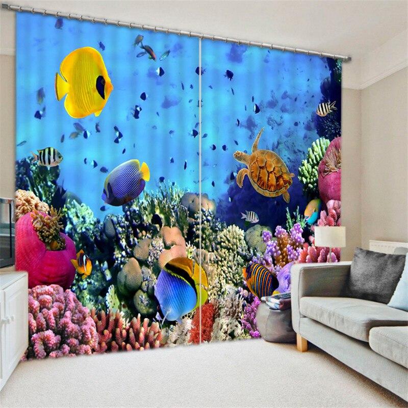 Monde sous-marin luxe occultant 3D rideaux pour salon literie chambre bureau rideaux Cotinas para salaMonde sous-marin luxe occultant 3D rideaux pour salon literie chambre bureau rideaux Cotinas para sala