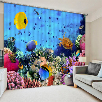 Underwater world Luxury Blackout 3D Curtains For Living room Bedding room Office Drapes Cotinas para sala