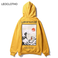 LEOCLOTHO Japanese Embroidery Hoodies Men Funny Cat Wave Print Fleece Sweatshirts Japan Style Hip Hop Casual Pullover Streetwear