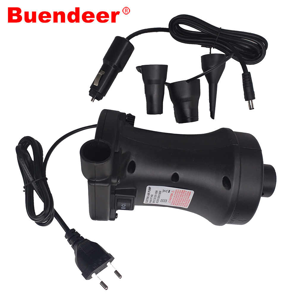 Buendeer 2 motor electric inflatable air pump AC 220V DC 12V car air pump inflator Deflator for Swimming Ring Inflatable boat