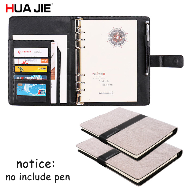 HUA JIE B5 Business Journal Notebooks Magnetic Buckle Diary Refillable Lined Paper Filofax Binder Rings Memos Pen Hole Card Slot