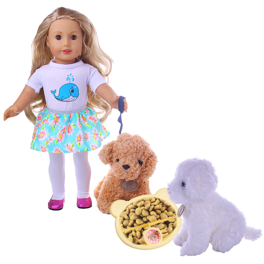 Doll Clothes+3 Colors Soft Plush Toy Dog With Bowl Set For 18 Inch American Doll&43 Cm Born Doll For Generation Baby Girl`s Toy