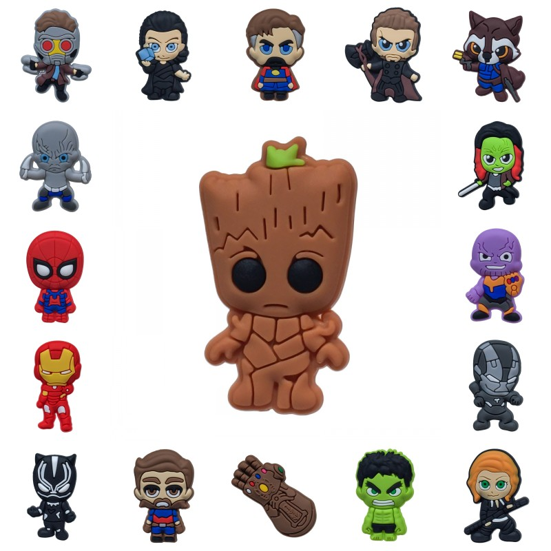 1pcs Avengers Infinity War PVC Shoe Charms Summer Shoes Accessories On Beach Croc Decoration Jibz Shoe Buckles Kids Gift