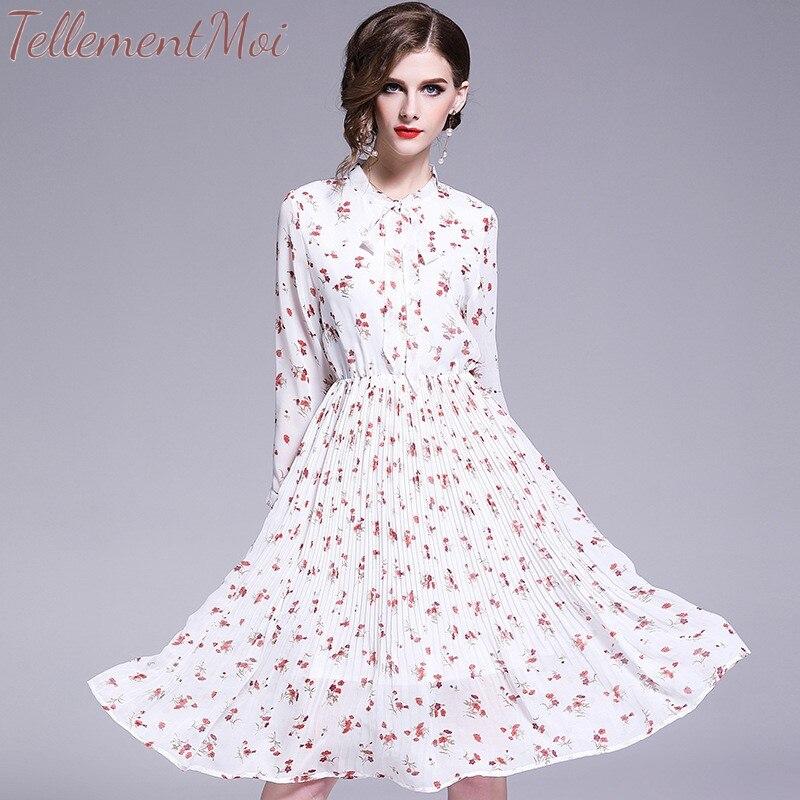 Spring Summer Chiffon Print Dress Elegant A line Women Floral Long Bowknot Dresses Casual Long Sleeve Pleated Vestidos S XL Size