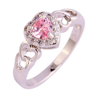 lingmei Wholesale Lady Heart Cut Sweet Cut Pink Topaz & White Sapphire 925 Silver Ring Size 6 7 8 9 10 11 12 Love Style JEWELRY