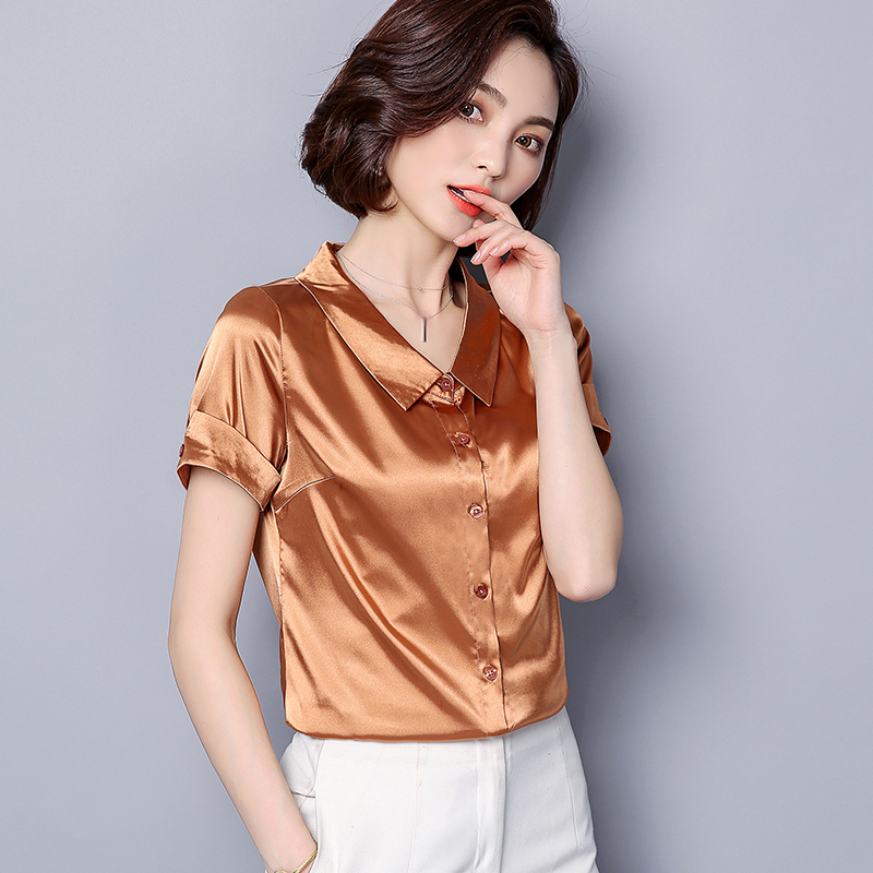 Womens Tops And Blouses Silk Womens Shirts Casual Pink Summer Blouse Solid Ladies Tops Plus Size XXXL Streetwear Clothes