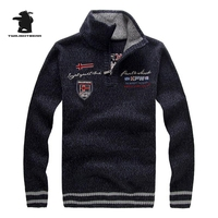 New Men S Sweater Winter Fashion Embroidery Thicken Stand Collar Wool Sweater Coat For Men Pullovers