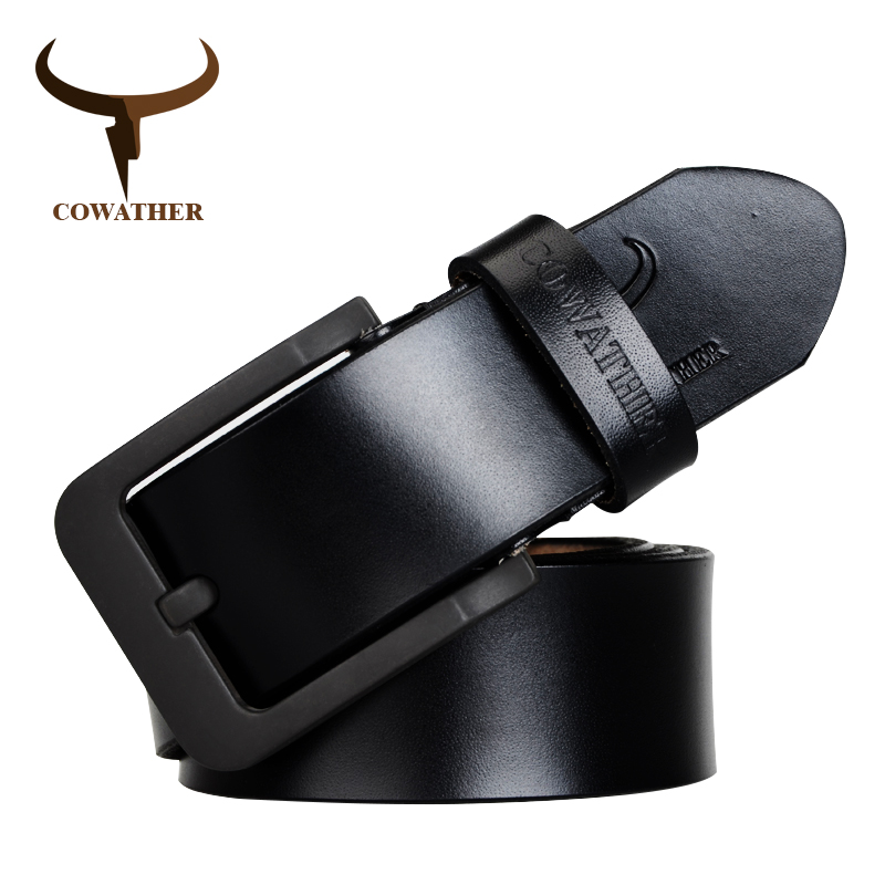 COWATHER male cow genuine leather belts strap pin buckle black brown coffee waistband