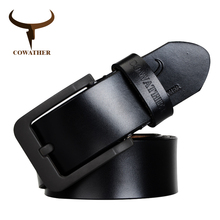 COWATHER new fashion male belt cow genuine leather belts hot sale strap pin buckle black brown coffee waistband free shipping