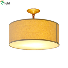 Europe Vintage Fabric Shades Led Ceiling Lights Fixtures Round Metal Bedroom Led Ceiling Lamp Luminarias Ceiling Light Lamparas