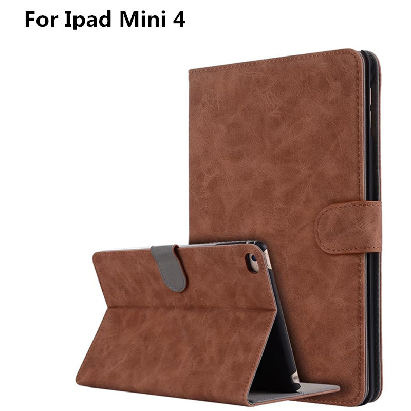 Retro PU leahter case for apple ipad mini 4 7.9 inch stand function wake up and sleep Cover vintage smart case for ipad mini4