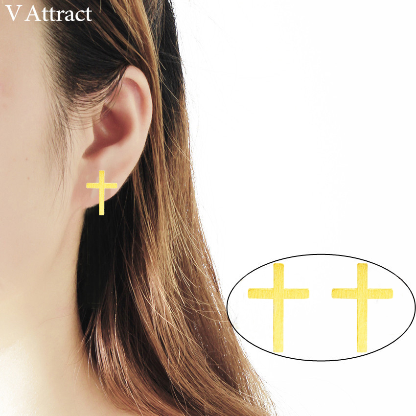 V Attract 10pair Minimalism Jewelry Stainless Steel Cross Stud Earring For Women and Men Gold Silver Pendientes Valentines Gift