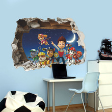 Background 3d-Stickers Paw Patrol Wall-Decoration Children's-Room Waterproof Cartoon